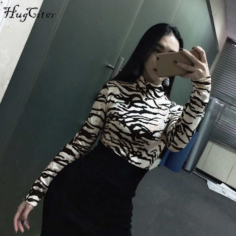 Hugcitar high neck fashion print bodycon bodysuit winter spring women long sleeve sexy club Christmas party body