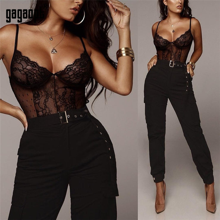 Lace Bodysuit Women Polka Dot Backless Sexy Bodysuit Fashion Black Mesh Bodysuit Jumpsuit Overalls Sleepwear