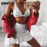 Pearl Decorated Floral Lace Crop Top Women Fashion Sexy V Neck Bralette Black/White Club Tops Ladies