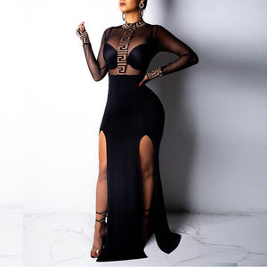 Side Split Fashion Sexy Women Bodycon Slim Skinny Turtleneck Long Sleeve Dresses Transparant Mesh Party Dresses
