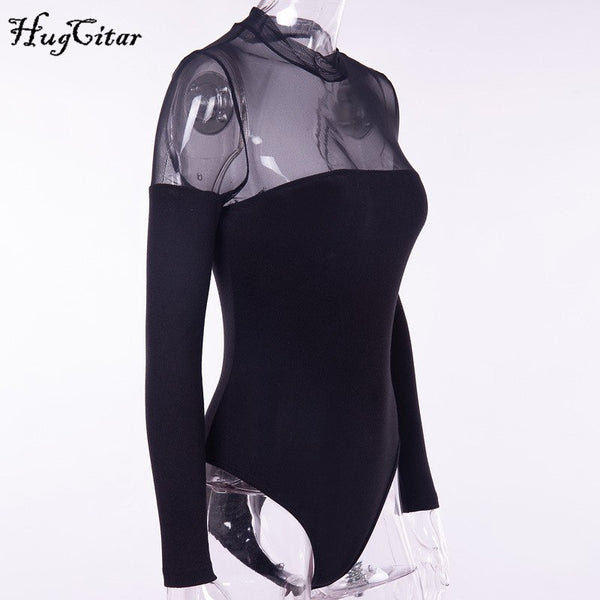 long sleeve mesh see-through patchwork sexy bodysuit