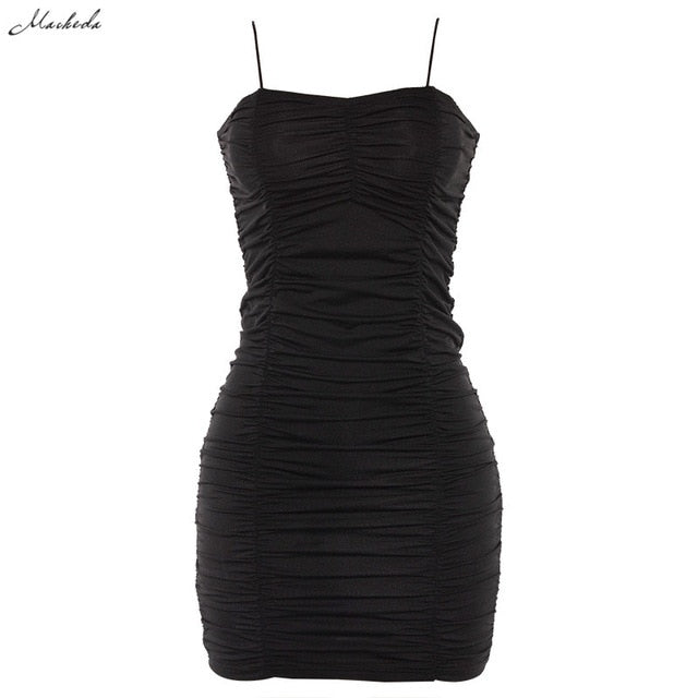 Macheda Sexy Bodycon Bandage Dress Women Spaghetti Strap Black Sheath Mini Dress Casual Party Halter Dress Vestidos