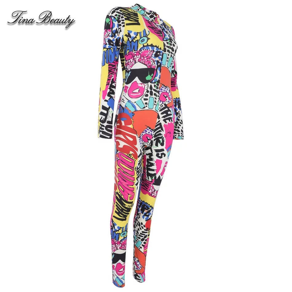 Tina Beauty Celebrity Skinny Cardi B High Neck Long Sleeve Graffiti Jumpsuit Silky High Quality Rompers Womens Jumpsuits