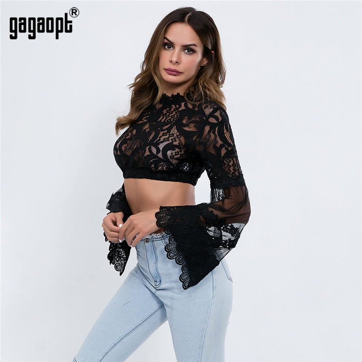 Mesh Tops Women Sexy Perspective Lace Flare Sleeve Crop Top Casual Tops