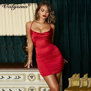 Summer Leopard Print Satin Dresses Woman Party Night Sexy Low Cut Backless Dress Red Slim Stretch Short Dress Vestido