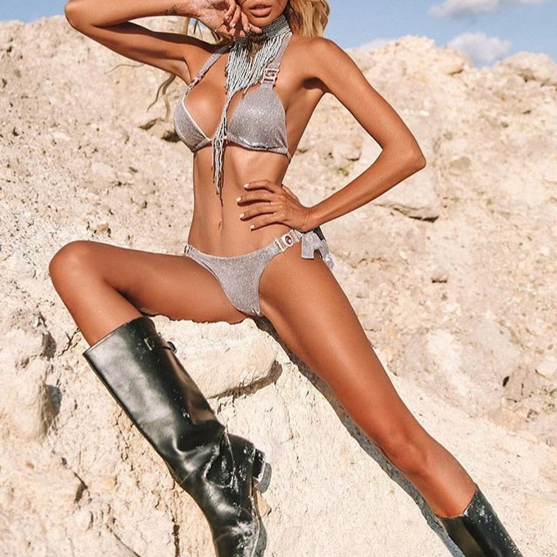 Shiny micro sexy bikini  Push up swimwear women bathing suit Triangle halter swimsuit female biquini Tie up two-piece suit