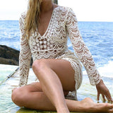 Crochet Summer Beach Dress Cover Up Sexy Hollow Out Mesh Knitted Tunic Swimsuit Coverup Womens Beach Sarong Robe De Plage