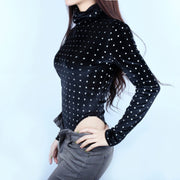 velvet bodysuit long sleeve /women fashion party casual body
