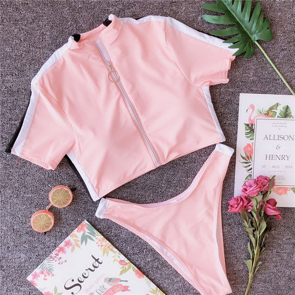 Sports swimwear women bathing suit Brazilian thong bikini 2019 bathers female t-shirt swimsuit Push up two-piece suit new