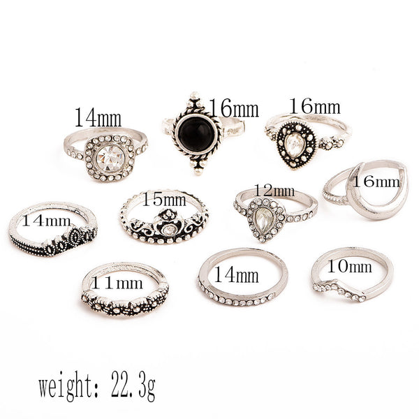 10 Pcs/set Bohemian Retro Gem Crown Crystal Moon Heart Waves Geometric Silver Ring Set Women Party Jewelry Gifts