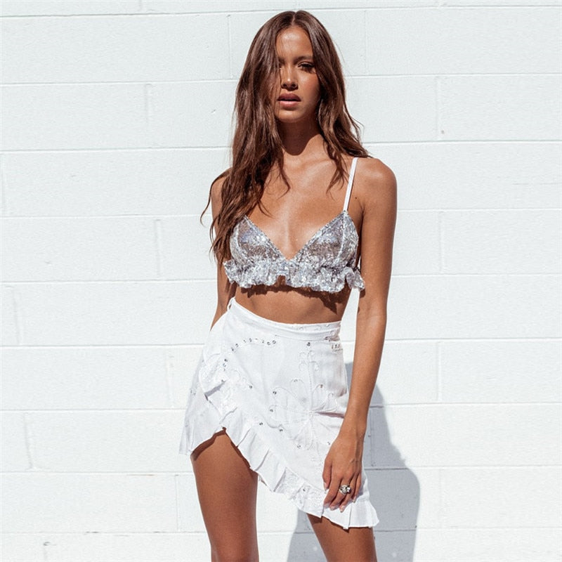 sequin V-neck halter sexy ruffles backless streetwear crop tops