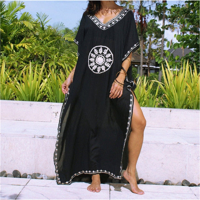 Kaftan Cotton Tunic Beach Dress Swim Wear Bathing Suit Cover Up Women Summer Beachwear pareos Robe de plage sarongs