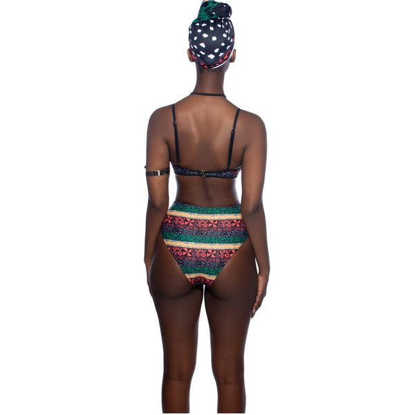 New Bikini African Print Two-Pieces Bath Suits Bikini Set Sexy Swimwear Swimsuit Gold High Waist Swimming Suit