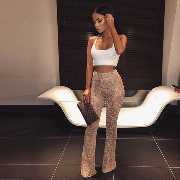 Women Sexy Sheer Mesh Sequin Two Piece Set Rhinestone Crop Top And Pant Sets Short Clubwear Party Glitter 2 Piece Outfits