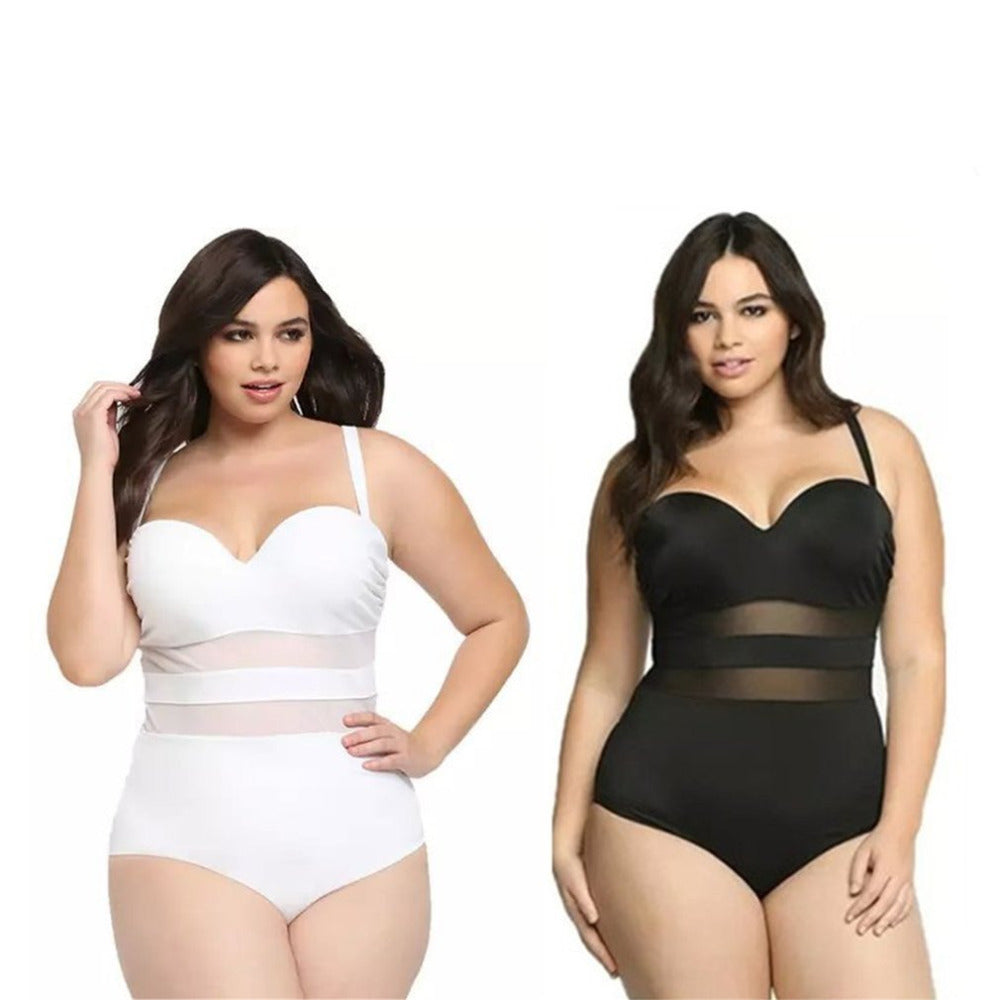 One Piece Swimsuit XXXL Large Size Swimwear Bathing Suit Women Plus Size Swimsuit Mesh Women Sexy Monokini