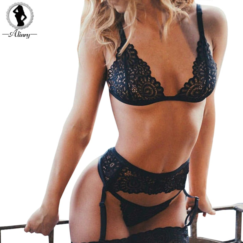 5ac07e14e sexy lace bra panty garter belt set women black transparent wire free  lingerie seamless intimates underwear ...