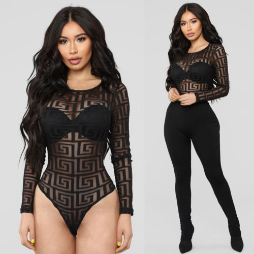 Sexy Women Mesh See-through Net Bodycon Sleepwear Bodysuit sexy Lady Tops