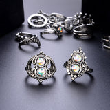 16 Pcs/set Women Bohemian Vintage Crown Wave Flower Heart Leaf Crystal Opal Joint Ring Party Silver Ring Set