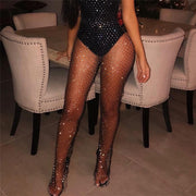 Crystal Rhinestones Diamonds Fishnet Sexy Tunic Pants Women Long Bottoms Mesh Hollow Out Transparent Beach Club Party Trousers