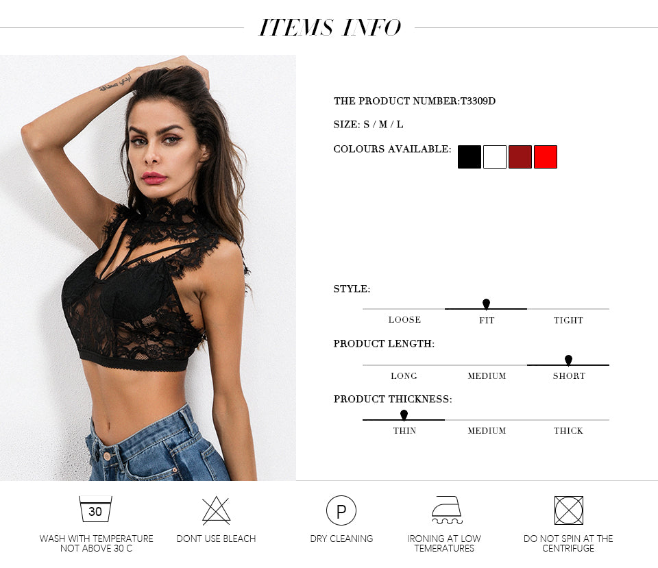 Lace Crop Top Women Bandage Backless Tops Fashion Sexy Tops Elegant Ladies