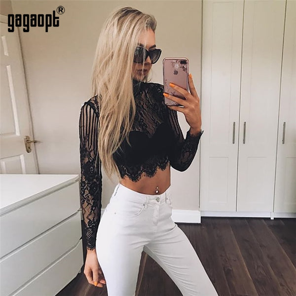 Crop Top Women Long Sleeve Turtleneck Ladies Lace Tops