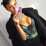 Animal Print Lace Bodysuit Women Fashion Velvet Green Sexy Bodysuit Sleeveless Skinny Bodysuit Club Jumpsuit Overalls