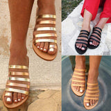 Women's Slippers Summer Beach Casual Shoes Ladies Flat Heel Strap Slippers Roman Shoes Female Flip Flops Outdoor Casual Hot