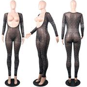 Kylies Secret Jumpsuit Sexy Sheer Crystal Glitter Long Sleeve V Neck Mesh Bodycon One Piece Festival Club Outfit