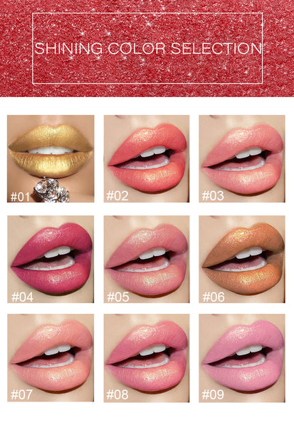 Brand Professional Lips Makeup Waterproof Shimmer Long Lasting Pigment Nude Pink Mermaid Shimmer Lipstick Luxury Makeup Cosmetic