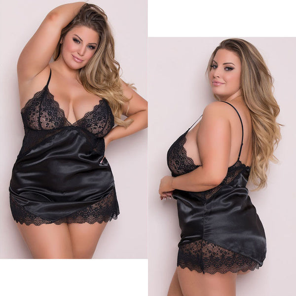 New Women Ladies Sexy Lingerie Lace V-Neck Sling Sleep Dress Babydoll Nightdress Nightgown Sleepwear Big Size