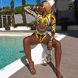 Mesh High Waisted Bathing Suit Women African Print One Piece Swimsuit Cut Out Long Sleeve Swimwear Female  Sexy Swim Suit