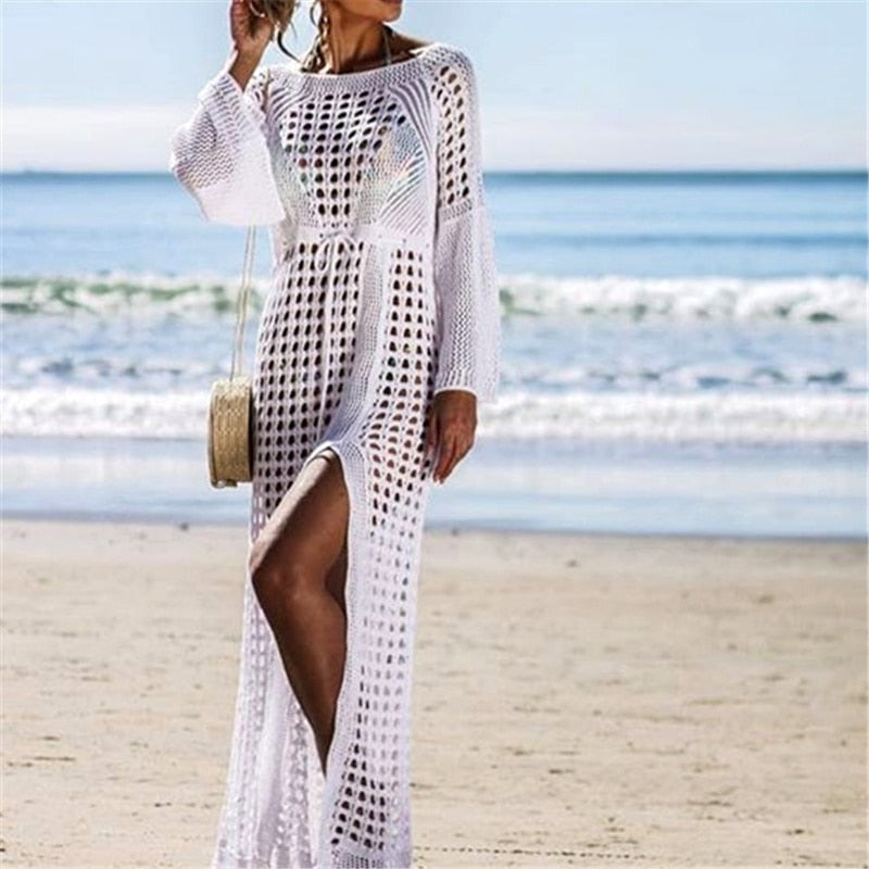 27e0ce2dd4fd9 ... Crochet White Knitted Beach Cover up dress Tunic Long Pareos Bathing  Suit coverup Swim cover up ...