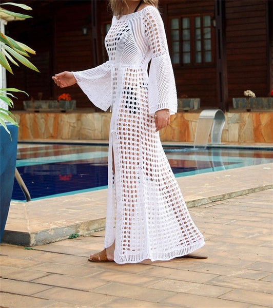 Crochet White Knitted Beach Cover up dress Tunic Long Pareos Bathing Suit coverup Swim cover up Robe Plage Beachwear