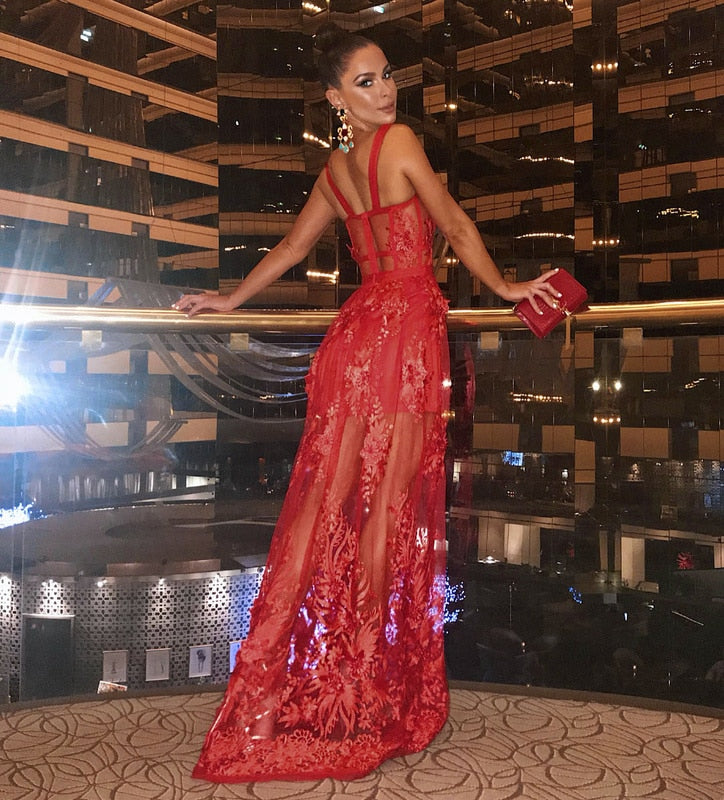 Celebrity High Quality Red Lace Sleeveless Hollow Out Long Rayon Bandage Dress Evening Party Elegant Dress