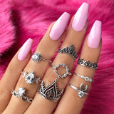 8 Pcs/ Set Women Fashion Temperament Geometric Moon Crystal Hollow Personality Crown Silver Ring Set Ladies Party Gift Jewelry