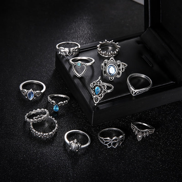 13 Pcs/Set Women Fashion Bohemian Punk Elephant Turtle Heart Flower Crown Gem Crystal Silver Joint Ring Lady Party Ring Set