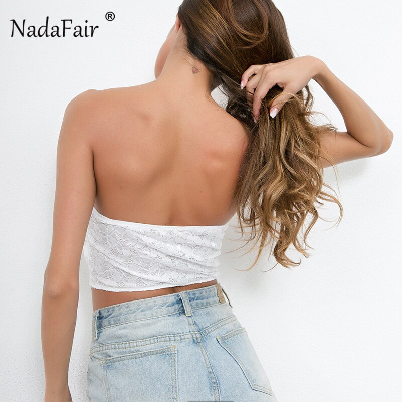 sexy lace crop tops women new summer black white backless strapless short tank tops women underwear