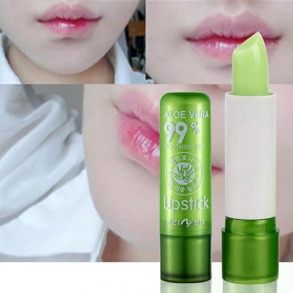Moisture Lip Balm Aloe Vera Natural Lipbalm Temperature Changed Color Lipstick Long Lasting Nourish Protect Lips Care Makeup