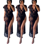 New Summer Dress Women Sexy Maxi Lace Dress Split Ankle-length Black See Through Dress V Neck New Hollow Out Vestidos Party