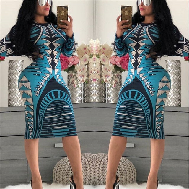 Print Novelty Bandage Bodycon Dress Women Long Sleeve Knee-length Casual Dress Elegant Slim Midi Party Dresses vestidos
