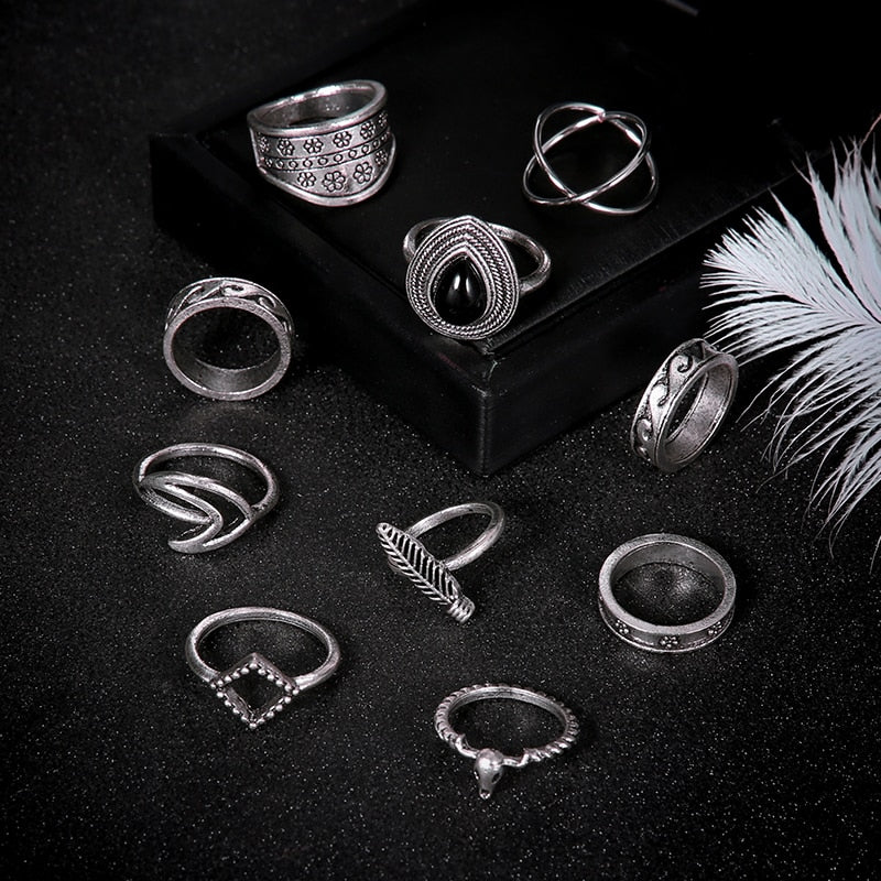11 Pcs/set Women's Fashion Water Drop Gem Flower Personality Carved Cross Leaf Waves Silver Ring Set Charm Beach Accessories