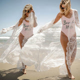 Lace Beach Cover Up Swimsuit Long Dress Transparent Cardigan Long Sleeve Swimwear Summer Hot Ladieswear Beachwear