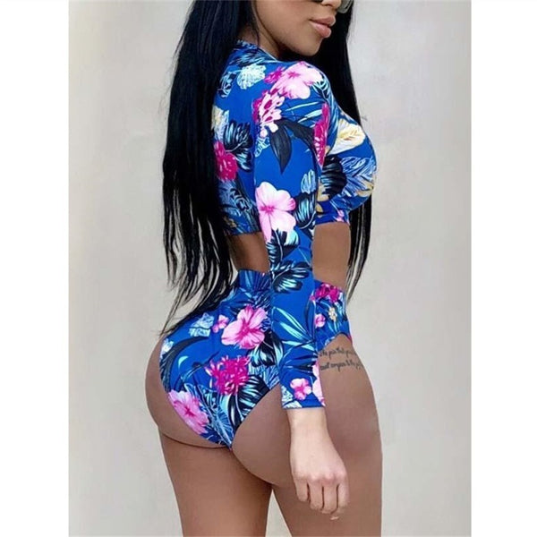 Bkning Long Sleeve Swimsuit Padded Swimwear High Leg Cut Bathing Suit Summer High Waist Monokini May Printed Swimming Suit
