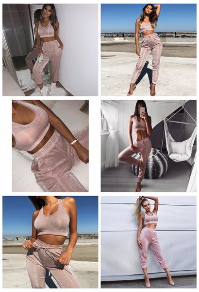 Bling Silver Silk Crop Tops Long Pants 2 Two Piece Set Pink Vest Lace Up Trousers Women Sportswear Tracksuit Casual Streetwear