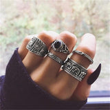 5 Pcs/set Women Bohemia Retro Elephant Arrow Round Gem Geometric Silver Ring Party Beach Casual Jewelry Accessories