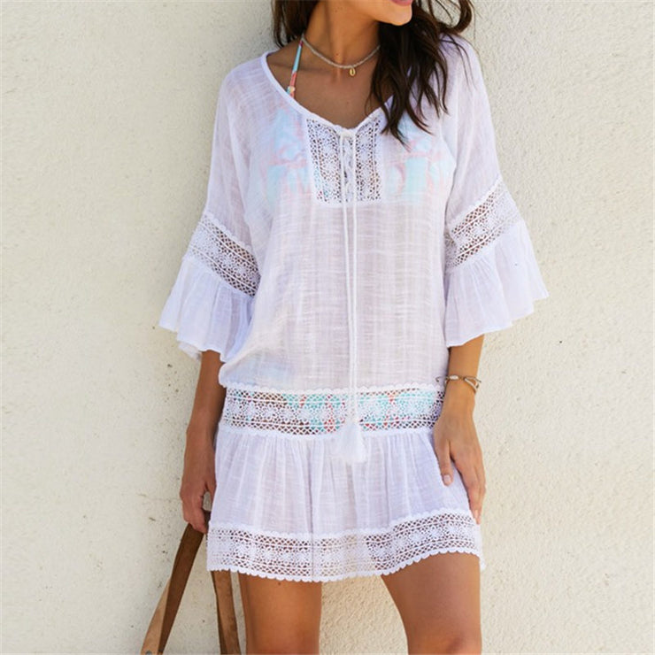 Bamboo Cotton Summer Pareo Beach Cover Up Sexy Swimwear Women Swimsuit Cover Up Kaftan Beach Dress Tunic White Beachwear