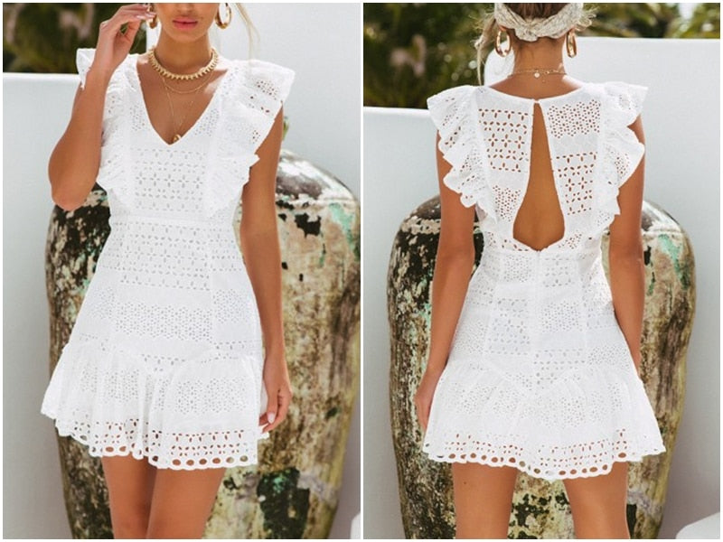 3924c165394c6 Vintage white lace cotton embroidery women dress Ruffled Spring summer mini  dress Sexy party short dresses
