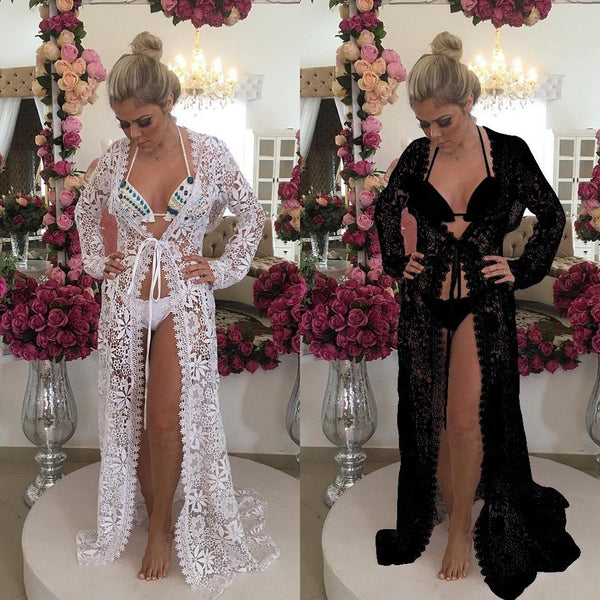Lace Crochet Hollow Beach Dress Women Bikini Cover Up Pareo Playa Swimsuit Lace Beach Cover-ups Tunics Robe De Plage Femme