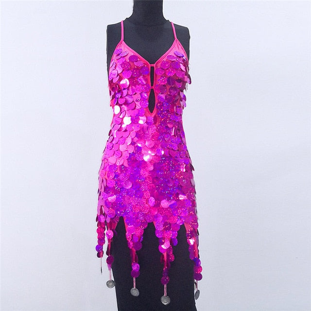 New Shiny Sequin Backless Sexy Dress Summer Sleeveless Glitter Dress Deep V Neck Party Club Women Punk Style Dress