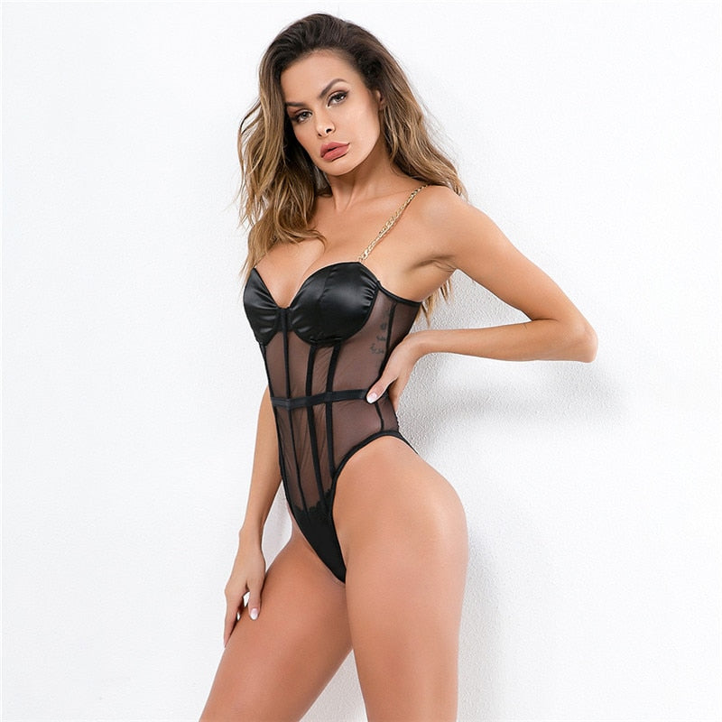 Sexy Black Mesh See Through Bodysuits Fashion Metal Chain Strap Hollow Out Bodycon Playsuits Women Casual Bottoming Jumpsuits